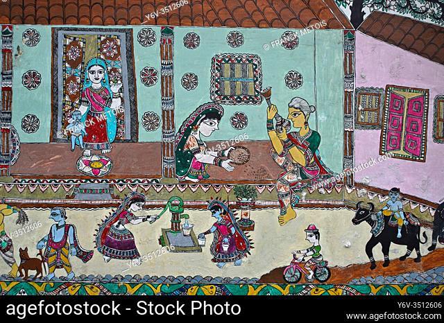 Madhubani style mural painting ( Madhubani, Bihar, India). The Madhubani ( or Mithila) art is a traditional art form practised in northern India and southern...