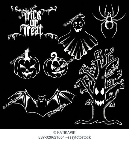 Vector set of Happy Halloween ornate elements: ghost, bat, spider, pumpkin, tree. Trick or treat hand drawn lettering for invitation, greeting cards
