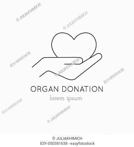 Vector thin line icon, heart in hand, logo template illustration. Part of Organ Donation set. Black on white pictogram, healthcare medicine isolated symbol