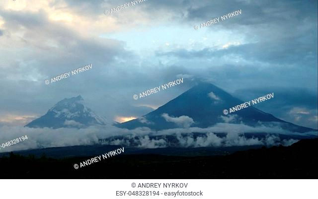 The Kamchatka volcano. Klyuchevskaya hill. The nature of Kamchatka, mountains and volcanoes