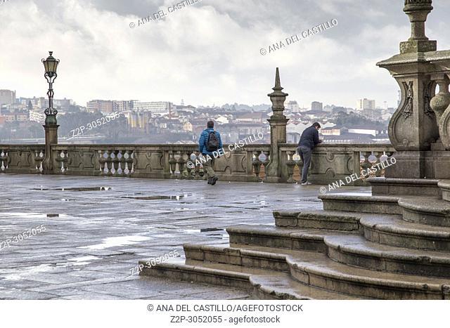 Pelourinho column at cathedral square in Porto, Portugal