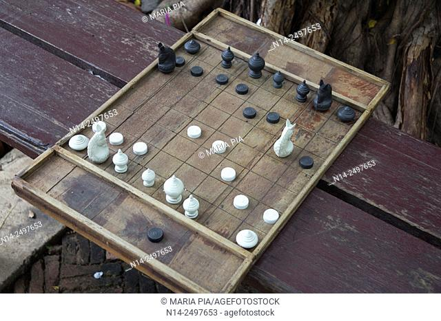 Chess board in ancient city Ayutthaya, Thailand, Asia