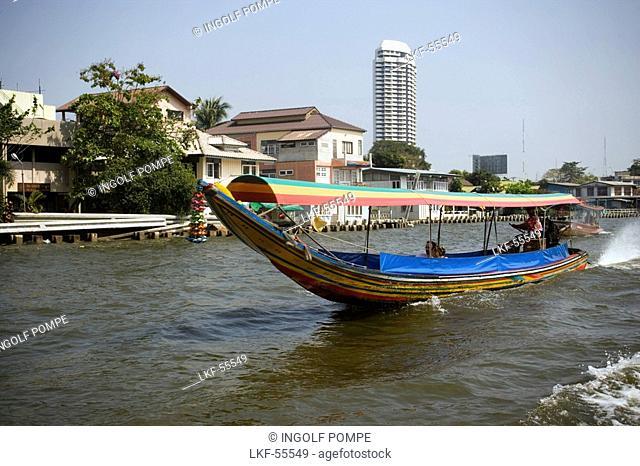Longtail Boat on Menam Chao Phraya River, River of Kings, Bangkok, Thailand
