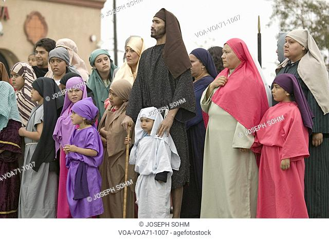 Actors during the Passion play, a dramatic reenactment of the trial, torture and death of Jesus Christ at Christ the King Church and Our Lady of Guadalupe...