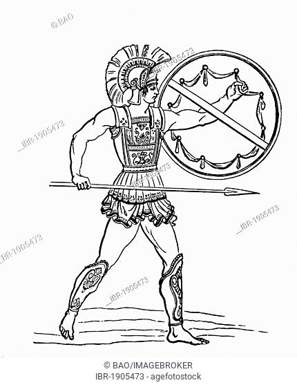 A Hoplite, a citizen-soldier of one of the Ancient Greek city-states of the archaic and classical period, woodcut from 1880