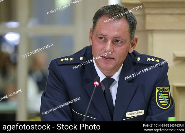 14 October 2021, Saxony, Leipzig: Mirko Göhler, acting vice rector of the Saxon Police University, speaks at a press conference for the signing of a cooperation...