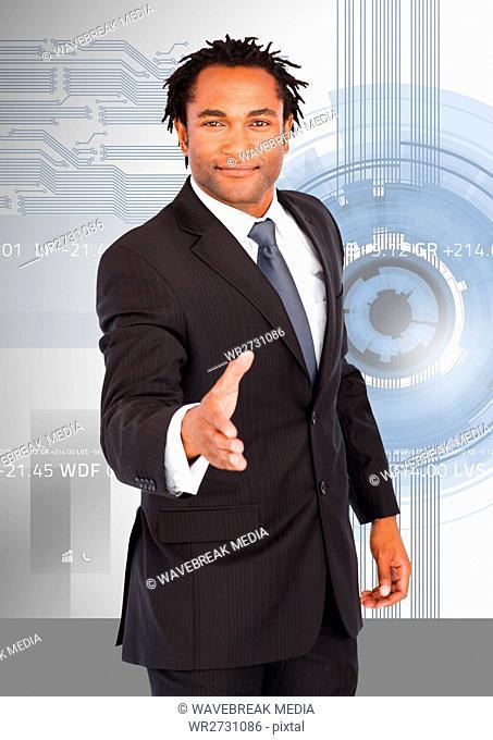 Portrait of a businessman offering hand for handshake