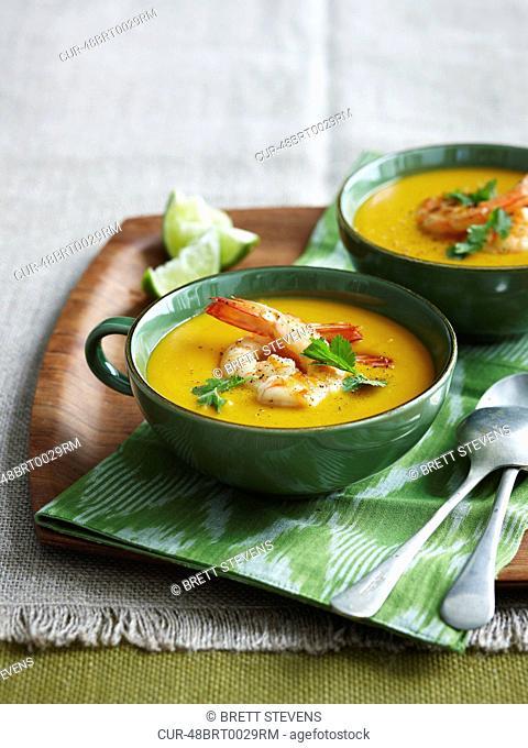 Thai Style Pumpkin Soup, Prawns, Lime, Coriander