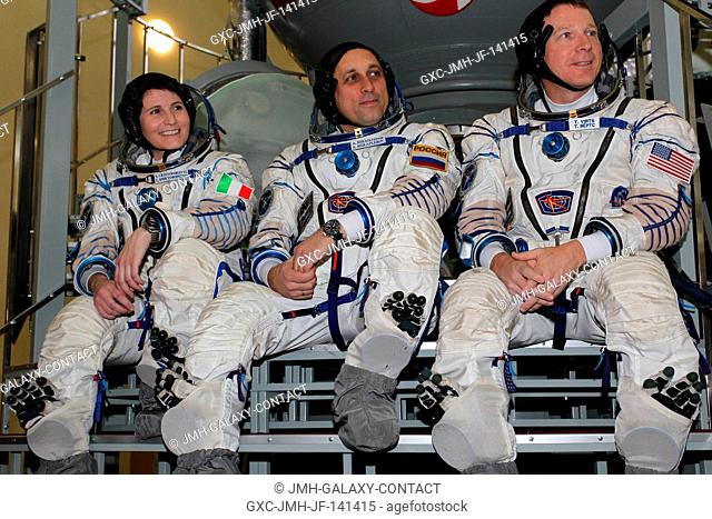 At the Gagarin Cosmonaut Training Center in Star City, Russia, Expedition 4243 Flight Engineer Samantha Cristoforetti of the European Space Agency (left)