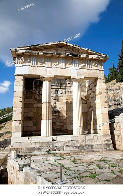 Treasury of the Athenians, Sanctuary of Apollo, Delphi archaeological site, Sterea Hellas, Greece, Europe