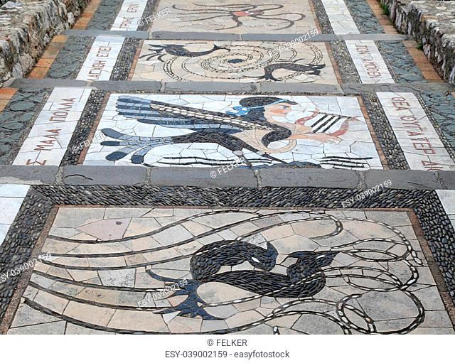 mosaic decoration with greek pattern on the garden steps walkway, Nice, France