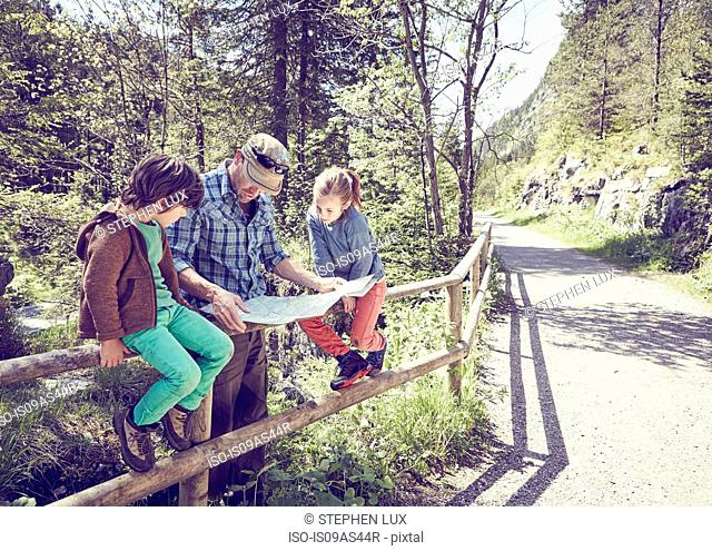 Father and children in forest, looking at map