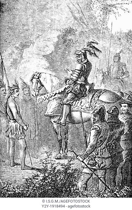 'Like you here, and in that suit Exclaimed Hernan Cortes' by Toro, From 'Hernan Cortes, Descubrimiento y conquista de Mejico', by Lamartine