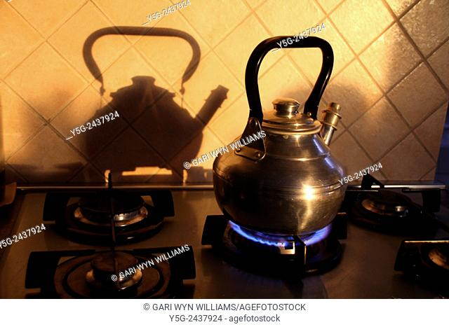 kettle on gas stove in kitchen