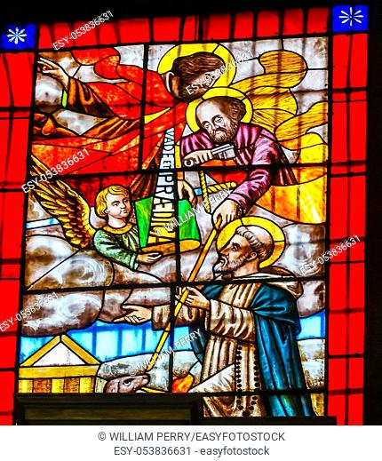 Peter Paul Saint Domingo Stained Glass Santo Domingo Church Mexico City Mexico. Church first built in the 1500s