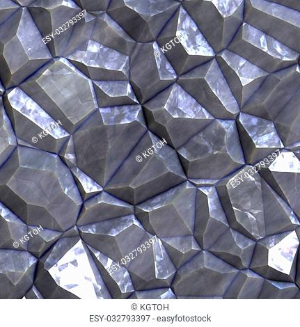 Crystalline mineral and metal shiny faceted ore deposits