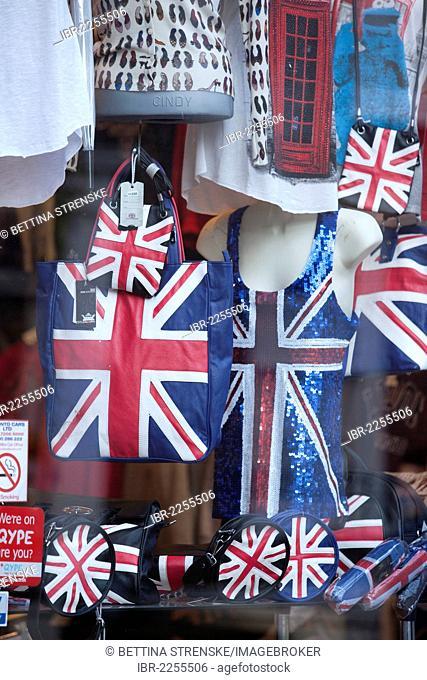 Union Jack items displayed in shop window, Portobello Market, Notting Hill, London, England, United Kingdom, Europe