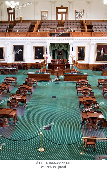 Inside the senate chambers in the Texas state capitol building or statehouse in Austin