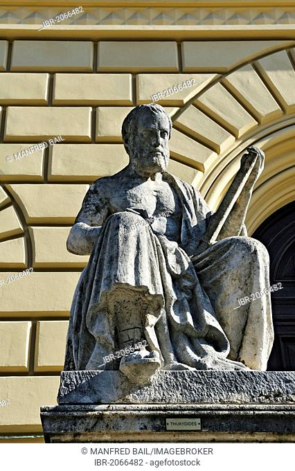 Statue of Thucydides in front of the State Library in Ludwigstrasse, Munich, Bavaria, Germany, Europe