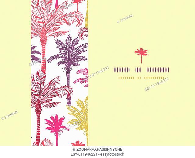 Palm trees seamless horizontal decor pattern background