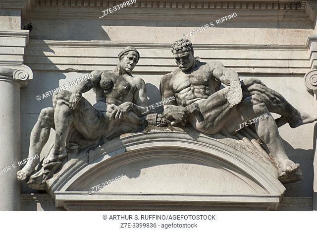 Sculptures on façade of Angelo Mai Civic Library (Biblioteca Civica Angelo Mai), Palazzo Nuovo di Bergamo. Piazza Vecchia (Old Square), Upper Town (Città Alta)