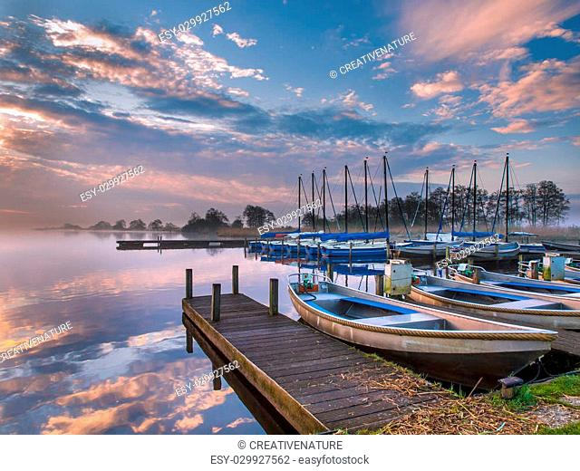 Marina with rental boats in the early morning