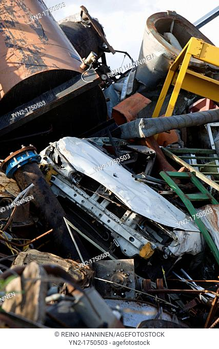 Pile of scrap metal going for recycling. Location Oulu Finland Scandinavia Europe