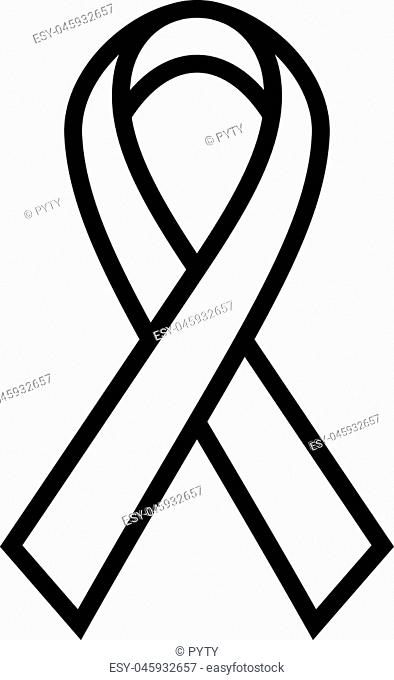 Breast Cancer Awareness Ribbon icon. Symbol of women healthcare. Simple black thick outline vector illustration