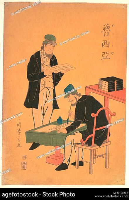Russians Reading and Writing. Artist: Utagawa Yoshikazu (Japanese, active ca. 1850-1870); Date: 1861 (Bunkyu 1st year, 2nd month); Culture: Japan; Medium:...