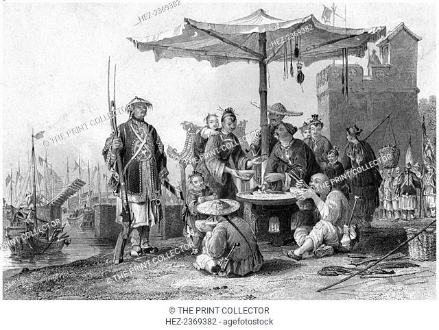 'Rice sellers at the military station of Tong-Chang-foo', China, 19th century