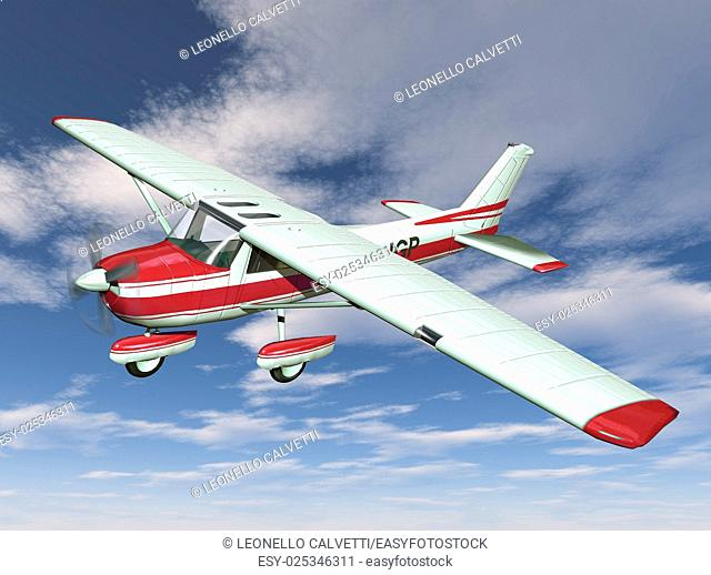 small airplane on sky background