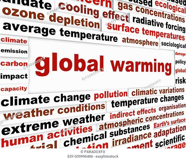 Global warming message concept. Environmental damage creative warning poster