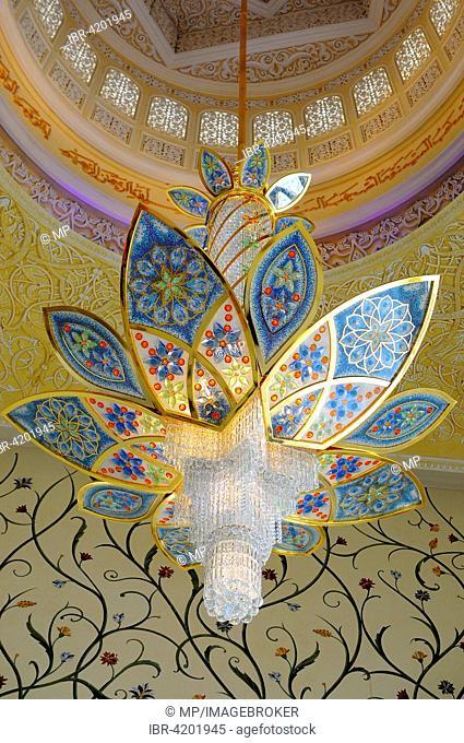 Dome interior, Sheikh Zayed Mosque, Abu Dhabi, United Arab Emirates
