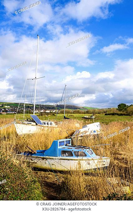 Boats on the River Caen at low tide. Braunton, Devon, England