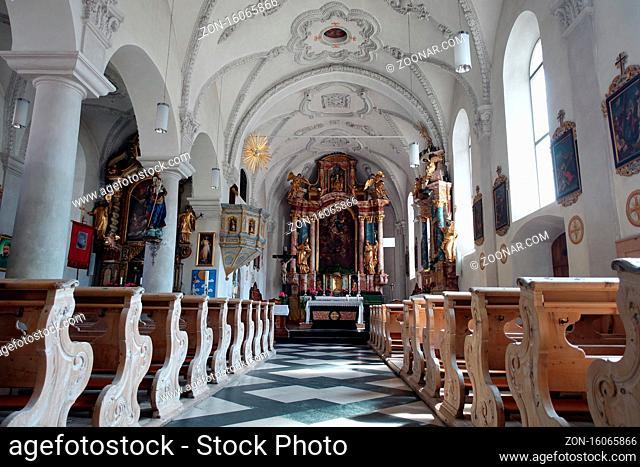 barocke Innenausstattung der Pfarrkirche Maria Himmelfahrt, Moos in Passeier, Südtirol, Italien
