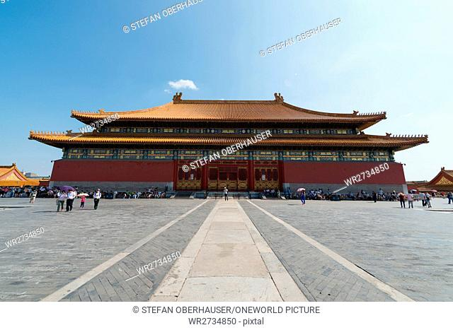 China, Beijing, Rear View of the Hall of Supreme Harmony in the Forbidden City