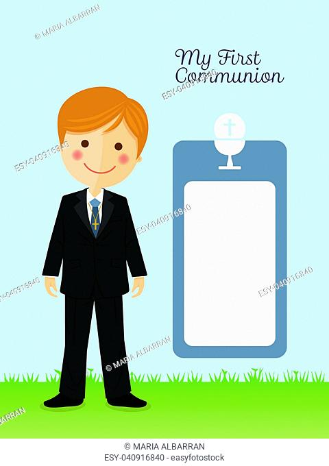 Child costume in her first communion dress vertical invitation on blue background