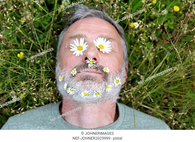 Mature man with daisies on his face