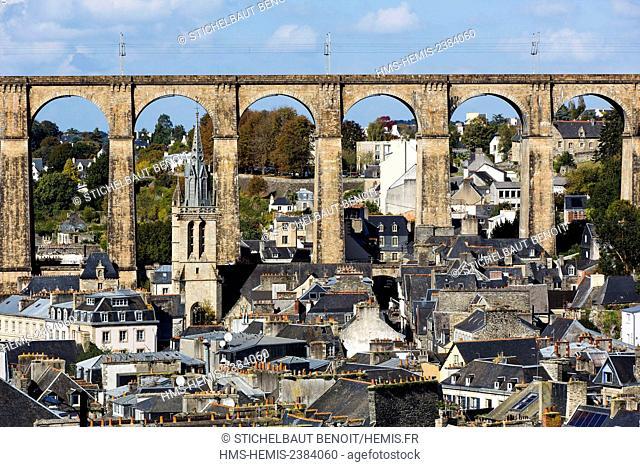 France, Finistere, Morlaix, City center, Sainte Melaine church and viaduct