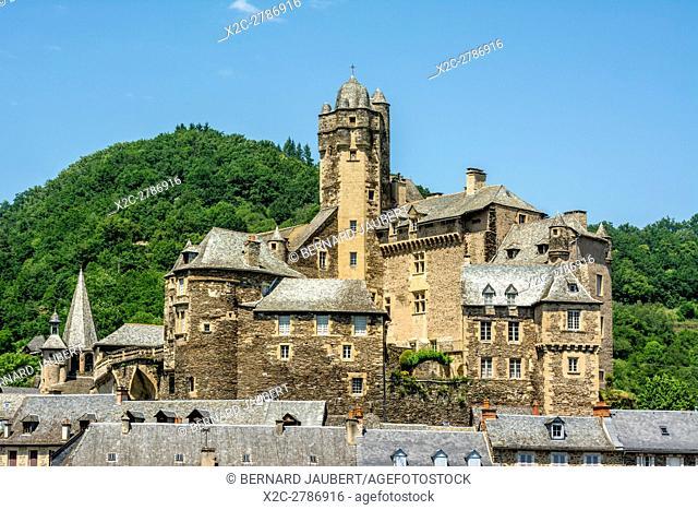Castle of village of Estaing labelled Les Plus Beaux Villages de France, on the Way of St. James. Aveyron. France. Europe