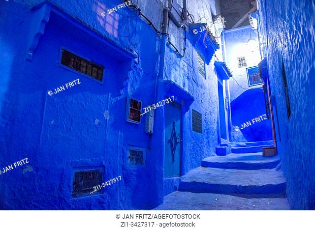Chefchaouen in the evening in Maroc