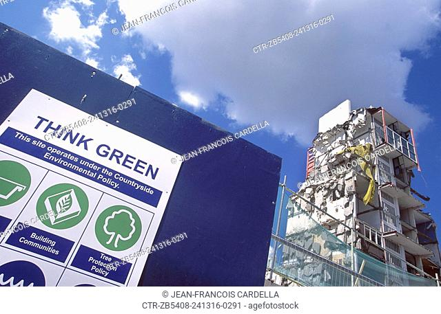 Peckham regeneration, London. Run down Estate being demolished