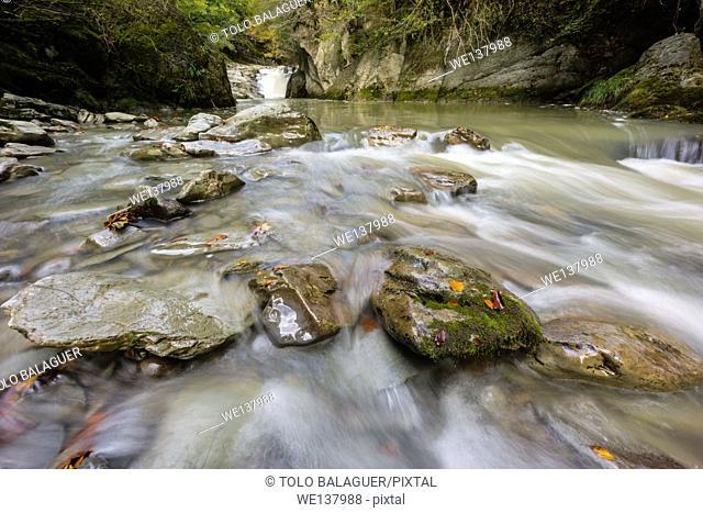 El Cubo waterfall, river Urbeltza, Irati Forest, Navarre, Spain