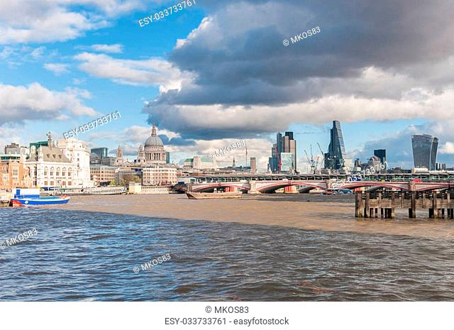 Beautiful cityscape of London with River Thames and St Paul Cathedral