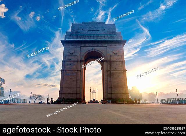 India Gate at sunrise, famous landmark of New Dehli, no people