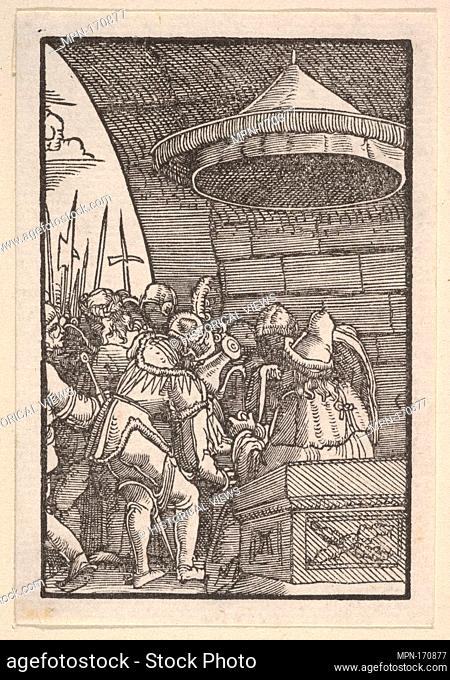 Pilate Washing His Hands, from The Fall and Salvation of Mankind Through the Life and Passion of Christ. Artist: Albrecht Altdorfer (German, Regensburg ca