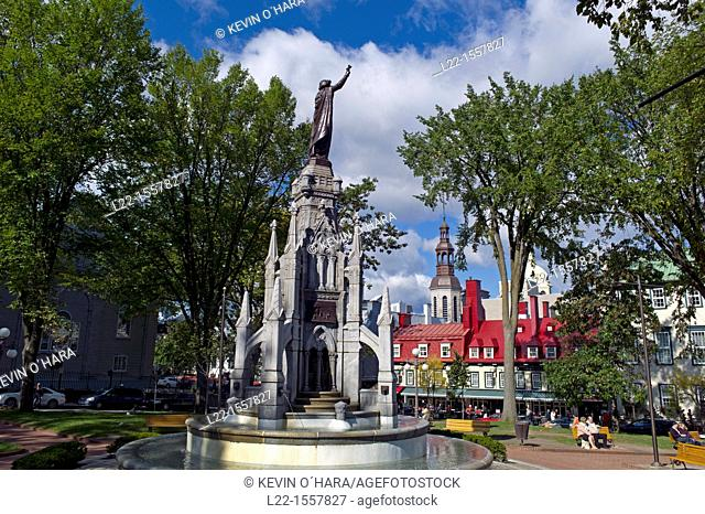 The Monument of Faith, monument-fountain in the Gothic style, carved in granite from Stanstead, was erected on the Place d'Armes in Quebec City to commemorate...