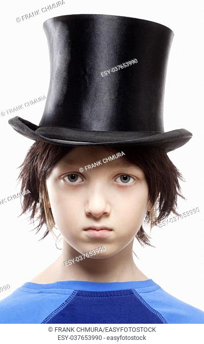 Boy with Brown Wig and Black Hat - Isolated on White