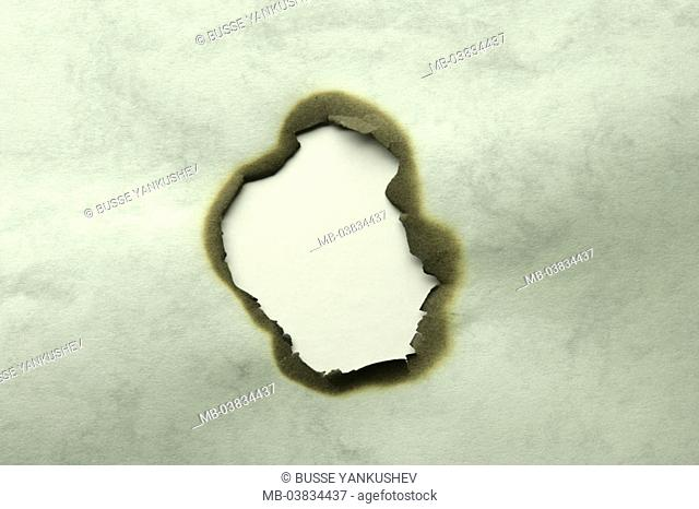 Paper, Brandloch,    Hand-made paper, broken, burn, hole, outlines, destroyed  burned, chars, symbol, opening, view, idea, leads, text space, fact reception