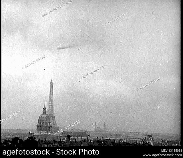 The Paris Skyline, Featuring the Eiffel Tower, With A Zeppelin Airship Flying Near the Clouds - Paris, The French Third Republic, France